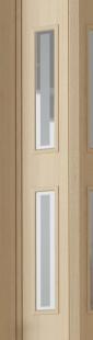 Falttür Luci esche holzfarben in 3-D-Optik, mit 2 Cristall-Fensterreihen, BxH 88,5x202 cm