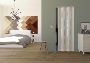 Falttür Luciana eiche weiß in 3D-Optik, mit 4 Fensterreihen, B 88,5 x H 202 cm