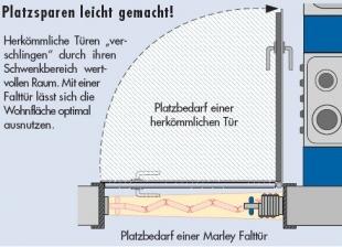 MARLEY Falttür Jazz Fb. alufarben, Fenster weiss Linie B 86 x H 205 cm