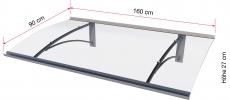 Pultvordach Gutta Typ PT/G gebogen (7200503), 160 cm, Edelstahloptik
