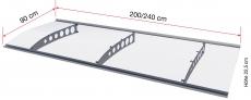 Pultvordach Gutta Typ PT/ET gebogen (7200406), 200 cm, Edelstahlträger