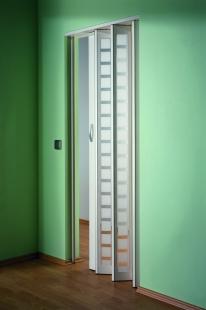MARLEY Falttür New Generation, (035987) Fenster Karo weiß-satiniert, weiß, BxH 86x205 cm