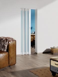 MARLEY Falttür Eurostar mit Fenster, (030654) satiniert, weiß, mit Schloss, BxH 83x205 cm