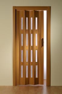 Falttür Luciana Höhe nach Maß 4 Fensterreihen buchefarben