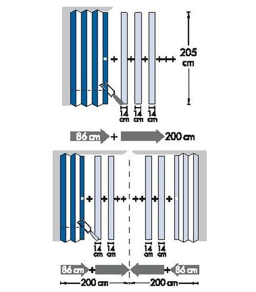 Doppelfalttür, Eichefb., H:205xB:172 Cm