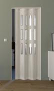 Falttür Luciana eiche weiß in 3-D-Optik, mit 3 Cristall-Fensterreihen, BxH 88,5x202 cm