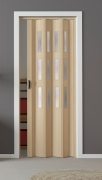 Falttür Luciana esche holzfarben in 3-D-Optik, mit 3 Fensterreihen, B 88,5 x H 202 cm