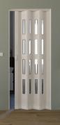 Falttür Luciana eiche weiß in 3-D-Optik, mit 4 Cristall-Fensterreihen, B 88,5 x H 202 cm