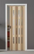 Falttür Luci esche holzfarben in 3-D-Optik, mit 4 Cristall-Fensterreihen, BxH 88,5x202 cm