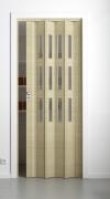 Falttür Elvari, 3D-Optik wildeiche natur gebleicht, mit 3 Fensterreihen Cristall, B 87,0 x H 202 cm