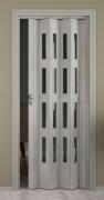 Falttür Elvari, 3D-Optik grau, mit 4 Fensterreihen Cristall, B 87,0 x H 202 cm