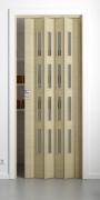 Falttür Elvari, 3D-Optik wildeiche natur gebleicht, mit 4 Fensterreihen Cristall, B 87,0 x H 202 cm