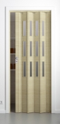 Falttür Elvari, 3D-Optik wildeiche natur gebleicht, mit 3 Fensterreihen sattiniert, B 87,0 x H 202 cm