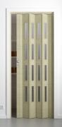 Falttür Elvari, 3D-Optik wildeiche natur gebleicht, mit 4 Fensterreihen sattiniert, B 87,0 x H 202 cm