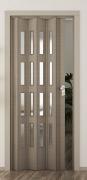 Falttür Elvari, 3D-Optik eiche taupe, mit 4 Fensterreihen sattiniert, B 87,0 x H 202 cm