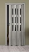 Falttür Elvari, Höhe nach Maß, 3D-Optik grau, mit 3 Fenster Cristall, mit Schloss