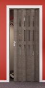 Falttür Elvari, Höhe nach Maß, 3D-Optik eiche taupe, mit 3 Fenster Cristall, mit Schloss