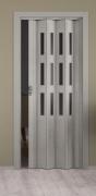 Falttür Elvari, Höhe nach Maß, 3D-Optik grau, mit 3 Fenster sattiniert, mit Schloss