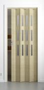 Falttür Elvari, Höhe nach Maß, 3D-Optik wildeiche natur gebleicht, mit 3 Fenster sattiniert, mit Schloss