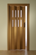 Doppelfalttür Luci, mit 2 Fensterreihen, buchefarben, BxH 175x202 cm