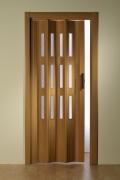 Doppelfalttür Luci, mit 3 Fensterreihen, buchefarben, BxH 175x202 cm