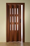 Doppelfalttür Luci, mit 3 Fensterreihen, mahagonifarben, BxH 175x202 cm