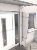 Seitenblende Gutta Acryl (7220192) für Pultvordach Typ PT/GR, 185x60x30 cm