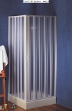 Duschkabine, Eckeinstieg, Falttürtürsystem, München, PVC transparent, L 80 x B 80 x H 185 cm, weiss