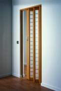 MARLEY Falttür New Generation, (035925) Fenster Karo weiß-satiniert, buchefarben, BxH 86x205 cm