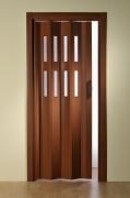 Falttür Luci mit 2 Fensterreihen, mahagonifarben, BxH 88,5x202 cm