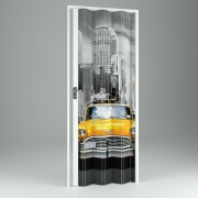 Falttür, Volllamelle mit Motivdruck Skyline, Taxi, BxH 89,5x214 cm